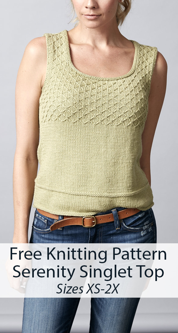 Free Knitting Pattern for Serenity Singlet Top Sizes XS to 2X