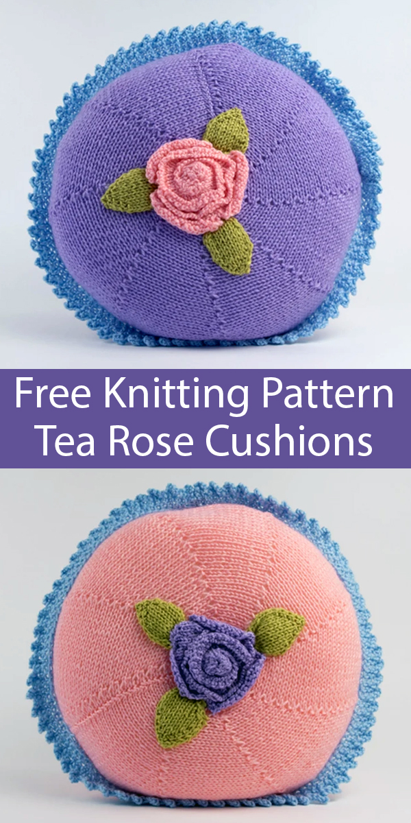 Free Knitting Pattern for Shabby Chic Tea Rose Cushions or Kit