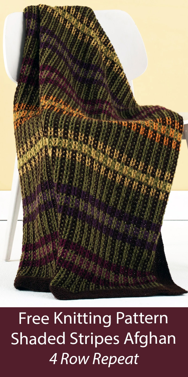 Free Blanket Knitting Pattern 4 Row Repeat Shaded Stripes Afghan