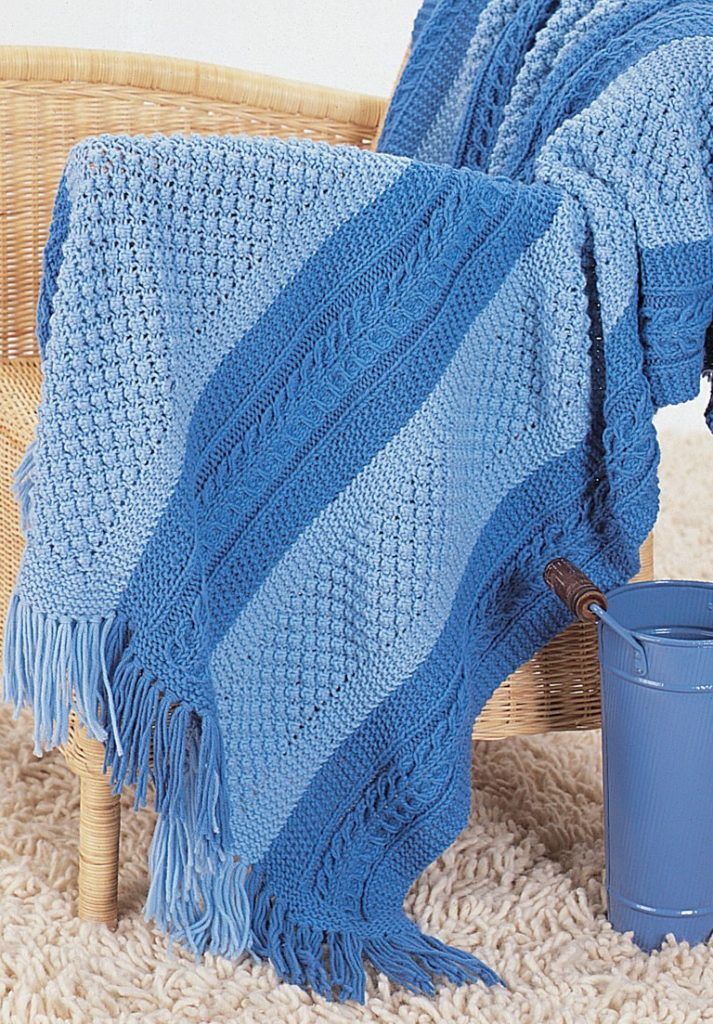 Free Knitting Pattern for Shades of Blue Blanket