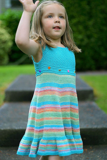 Free knitting pattern for girl's dress Shades of Summer and more dress knitting patterns for children