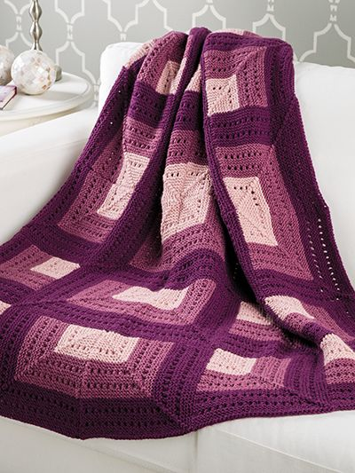 Free knitting pattern for Shadowbox Afghan