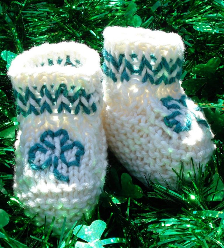 Free Knitting Pattern for Shamrock Booties