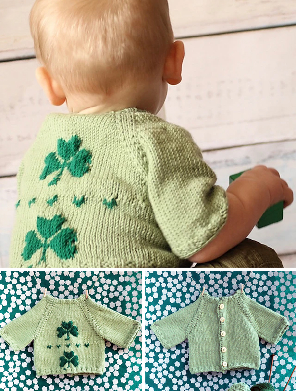 Free Knitting Pattern for Shamrock Baby Cardigan