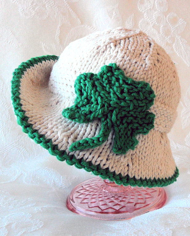 Knitting Pattern for Shamrock Baby Hat