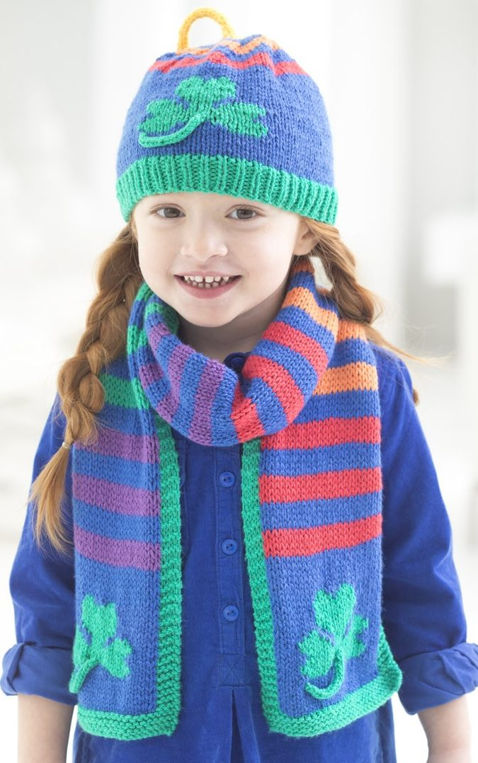 Free Knitting Pattern for Shamrock Hat and Scarf