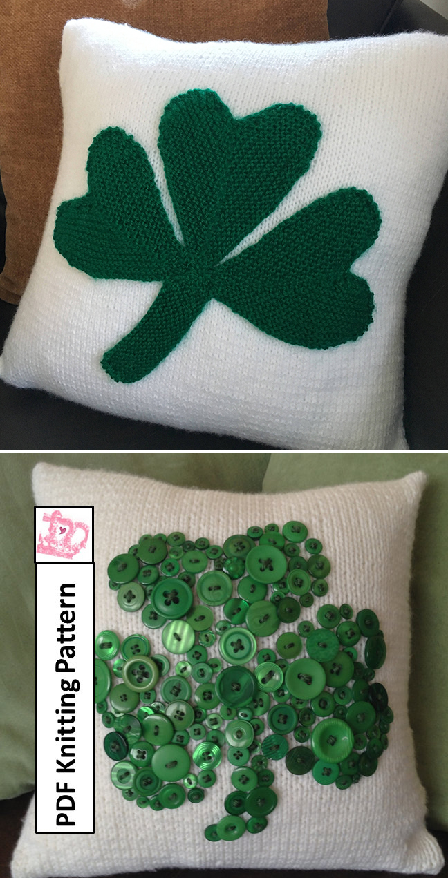 Knitting Patterns for Shamrock Pillows