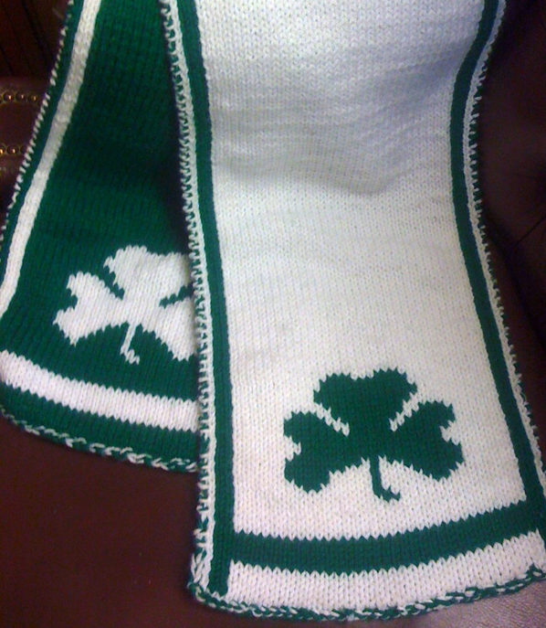 Knitting Pattern for Shamrock Scarf