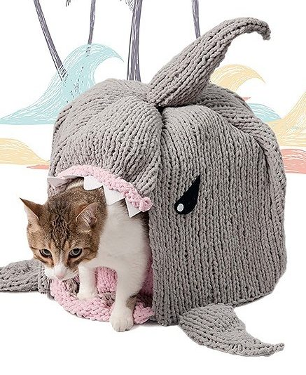 Knitting Pattern for Shark Cat Cave