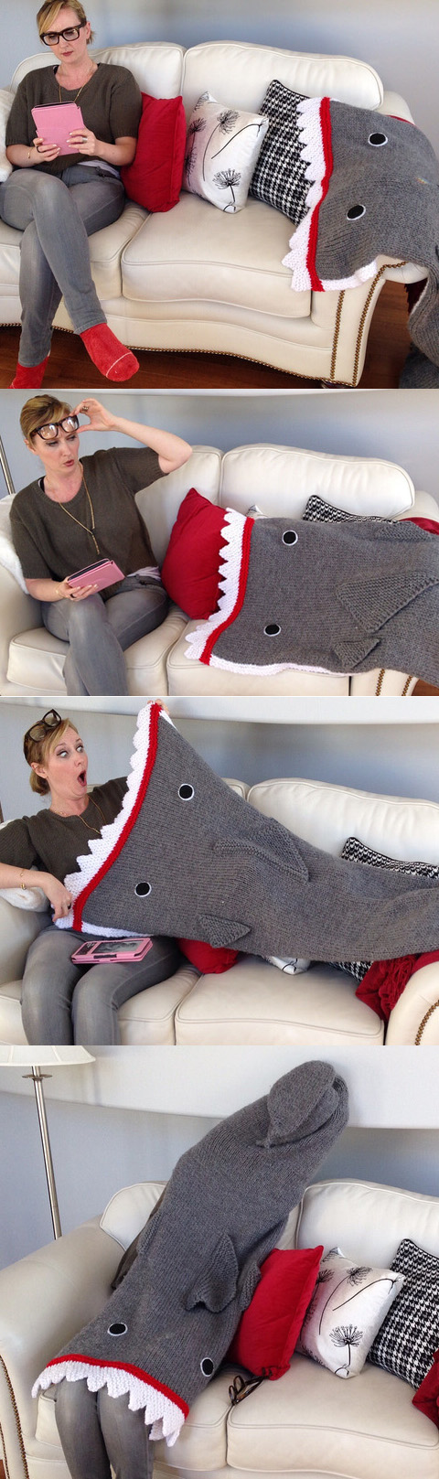 Free knitting pattern for Shark Attack Blanket