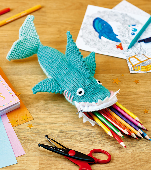 Free Knitting Pattern for Shark Pencil Case