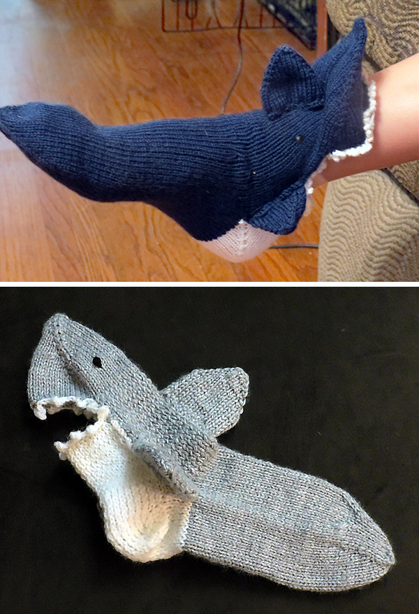 Knitting pattern for Shark Socks Sizes Baby to Adult