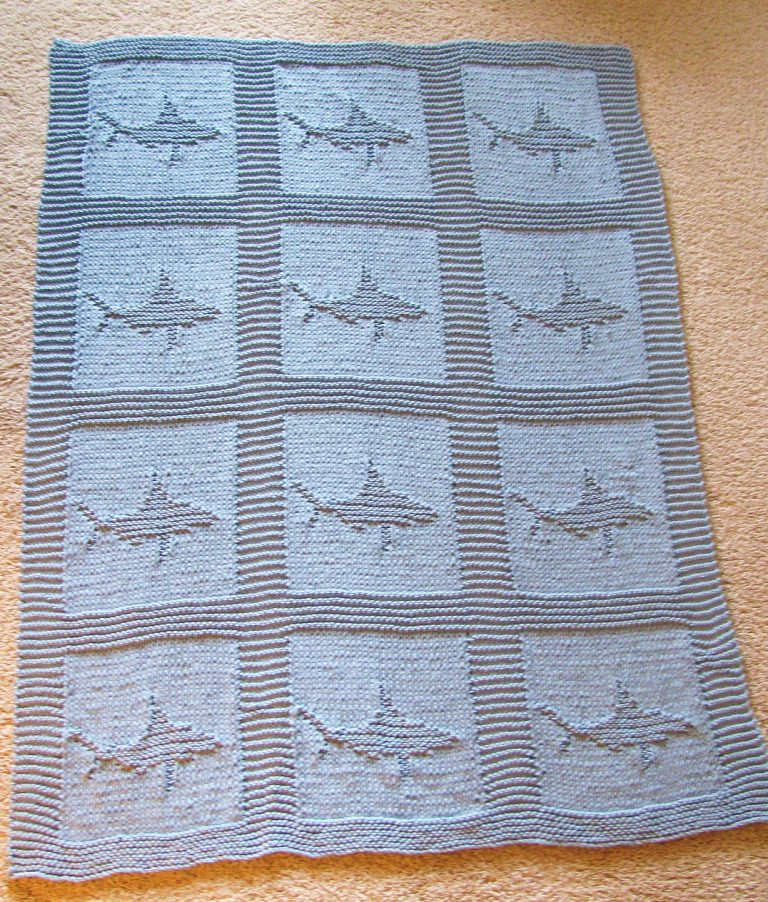 Free knitting pattern for Shark Motif for Cloth or Afghan