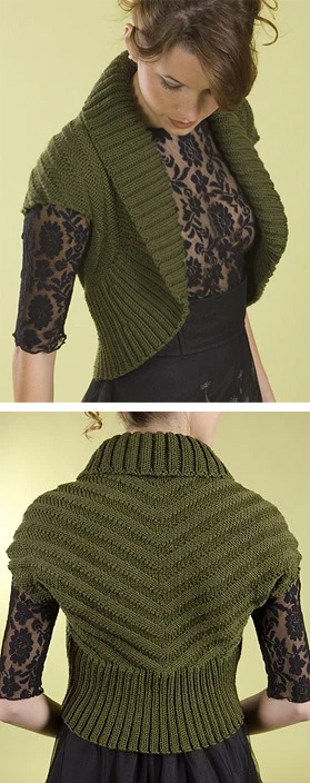 Free knitting pattern for Shawl Collar Chevron Shrug