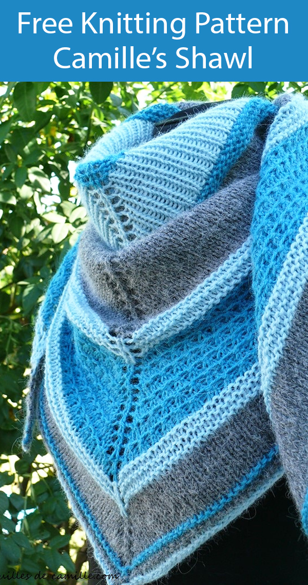 Free Knitting Pattern for Camille's Shawl
