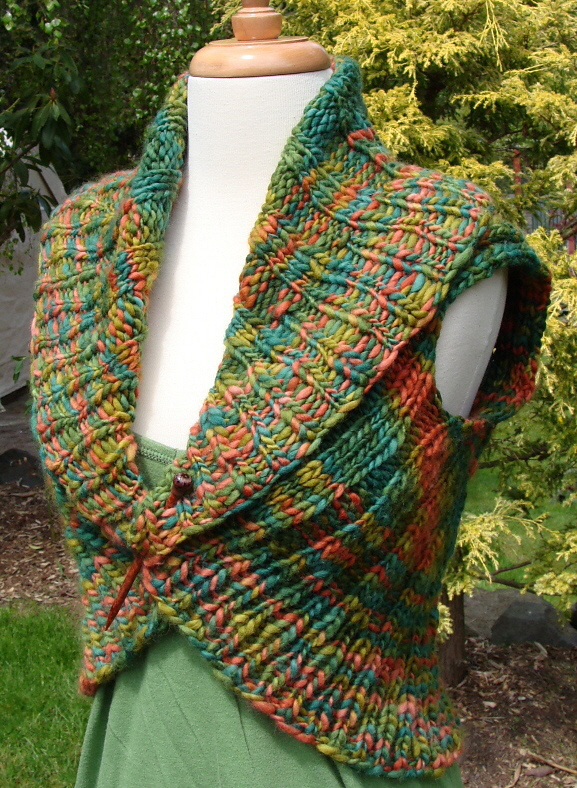 Free Knitting Pattern for Shawl Collar Vest
