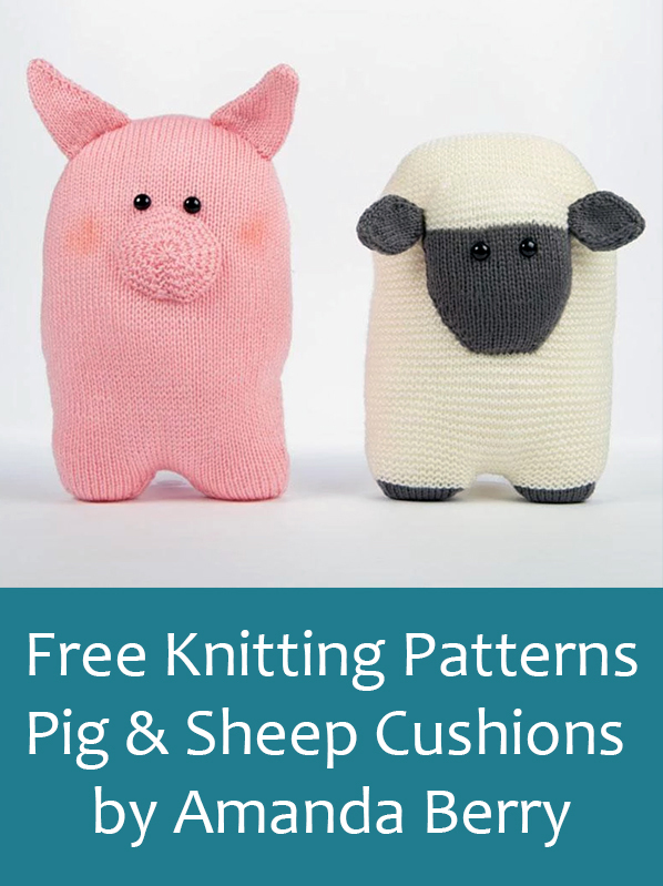 Free Knitting Pattern for Sheep and Pig Cushions by Amanda Berry