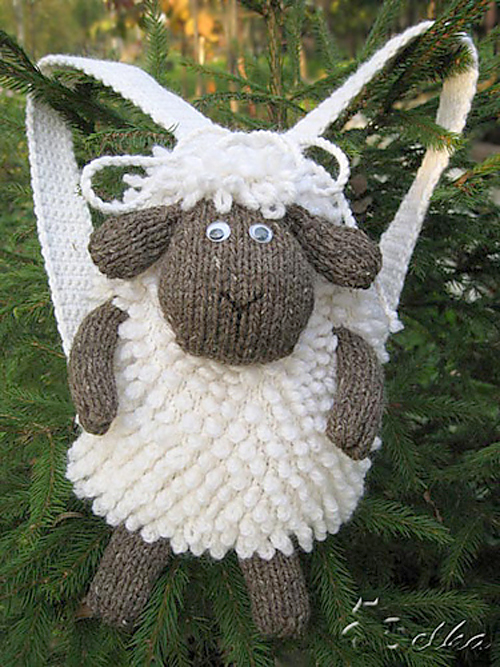 Free Knitting Pattern for Sheep Backpack