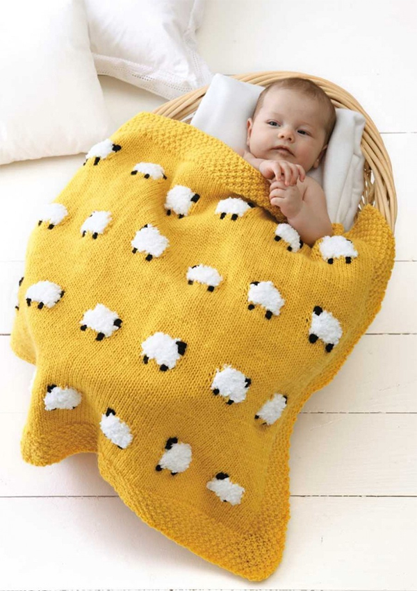 Knitting Pattern for Sheep Blankie Baby Blanket