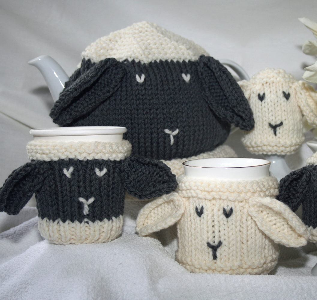 Knitting Patterns for Sheep Cozy Set
