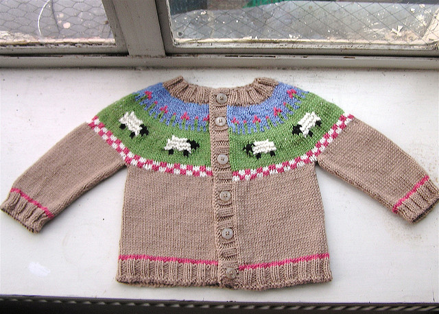 Sheep Yoke Baby Cardigan free knitting pattern and more sheep and lamb knitting patterns