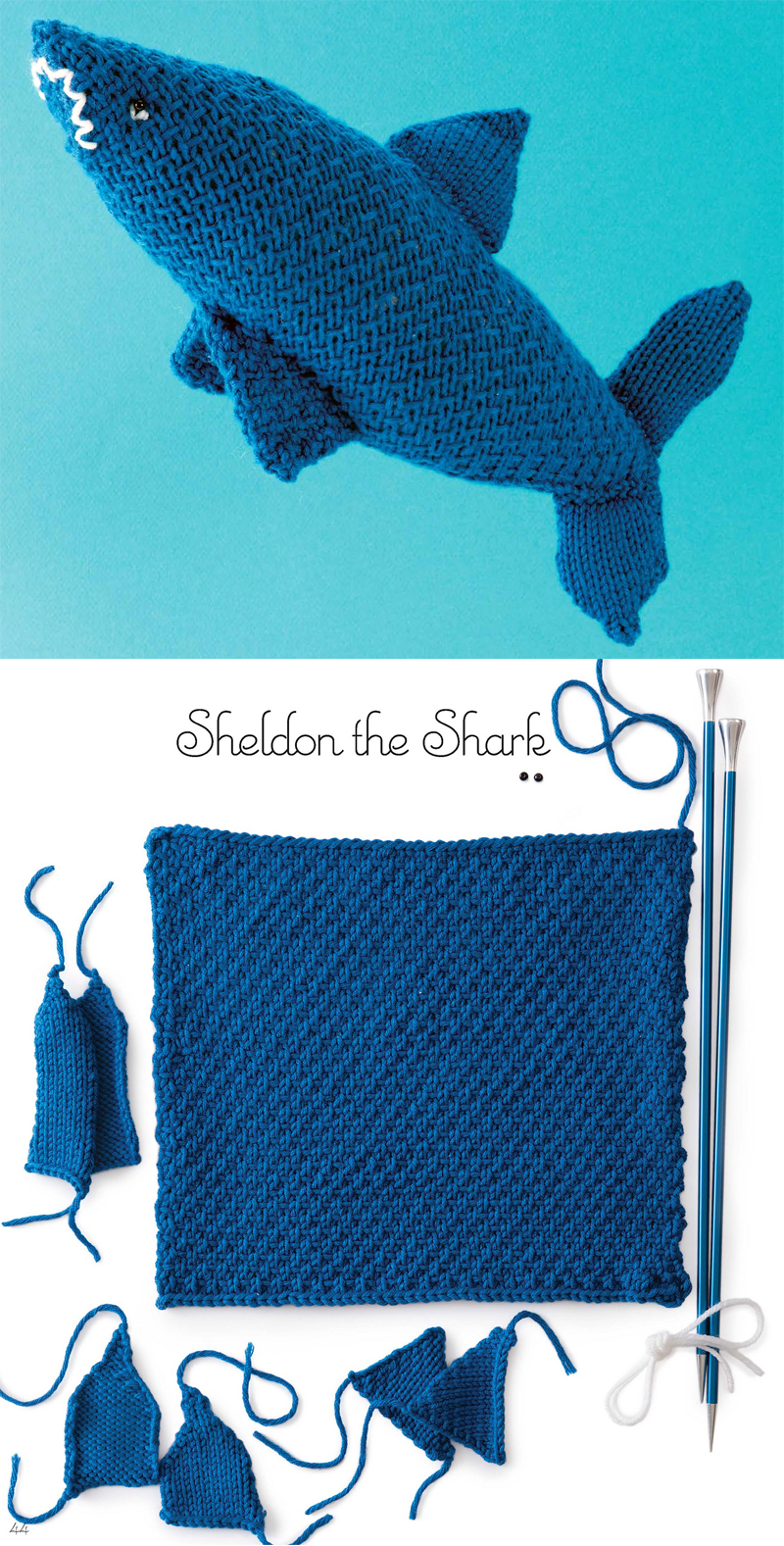 Knitting Pattern for Shark Toy Knit From a Square