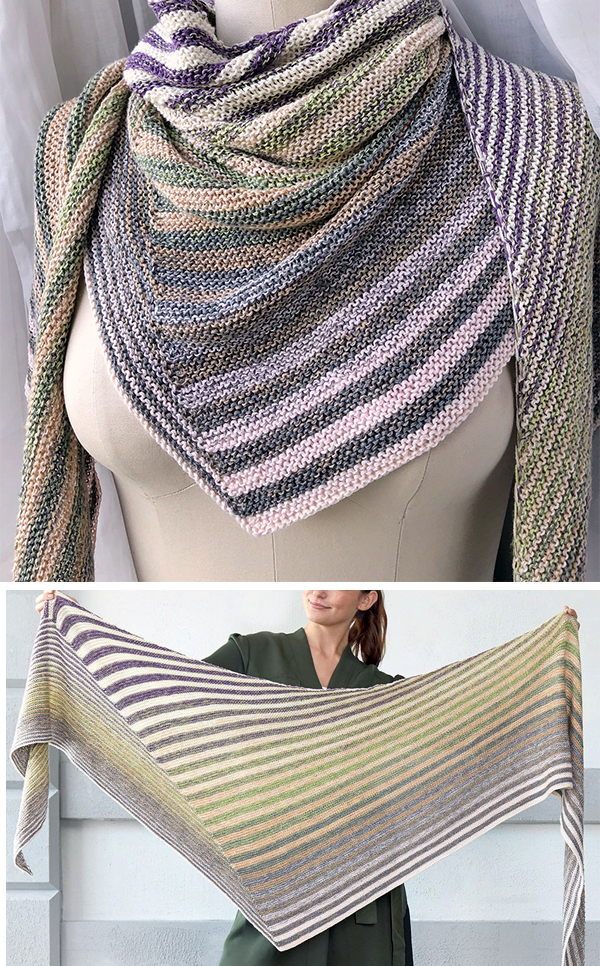 Free Knitting Pattern for Easy Shifting Stripes Shawl