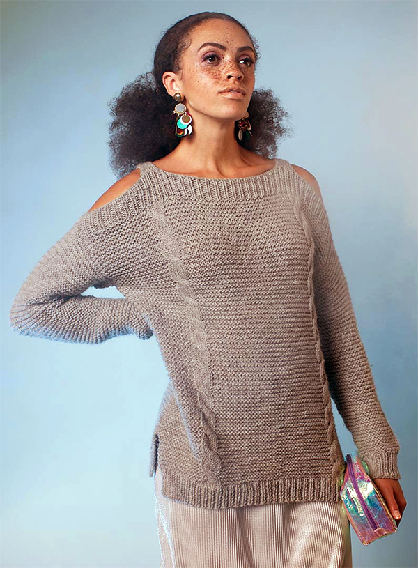 Knitting Pattern for Shimla Cold Shoulder Sweater