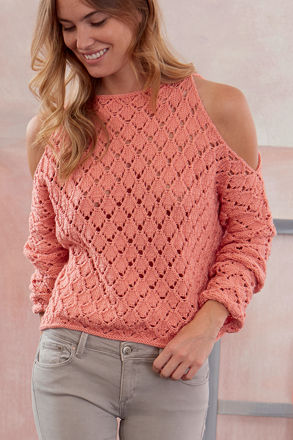 Free Knitting Pattern for Lace Cold Shoulder Pullover