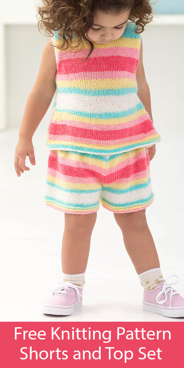 Free Knitting Pattern for Shorts and Top Set for Child 1 and 2 yrs