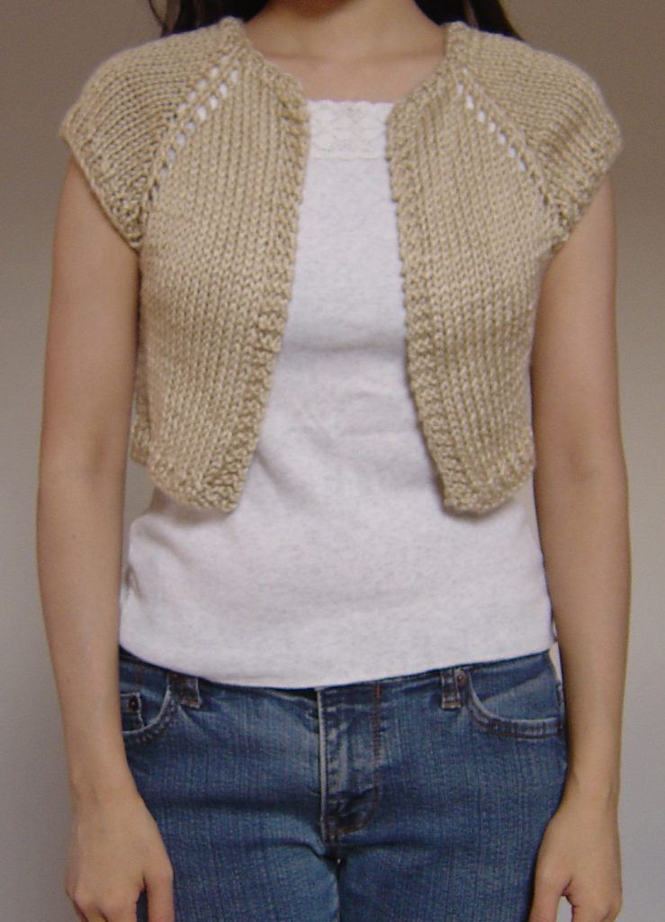 Free knitting pattern for Shrug This one skein shrug