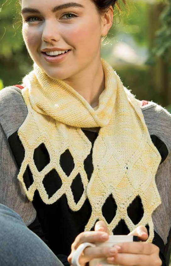 Knitting pattern for Sign of Four Scarf with diamond pattern with solid and openwork diamonds