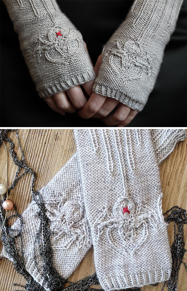 Knitting pattern for Silken Spider Mitts
