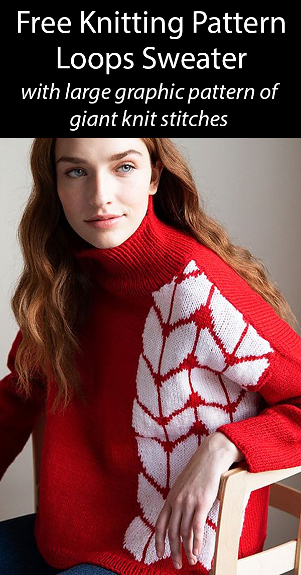 Free Knitting Pattern for Loops Sweater with large pattern of giant knit stitches