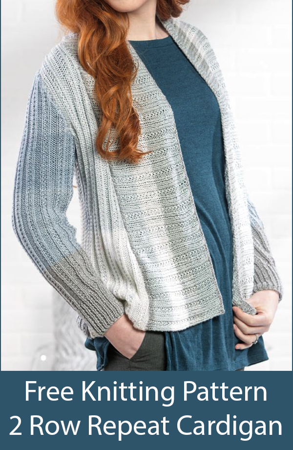 Free Knitting Pattern for 2 Row Repeat Silver Birch Cardigan