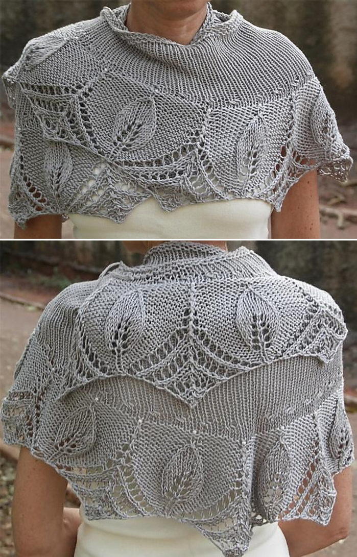 Free Knitting Pattern for Silver Leaves Shawlette