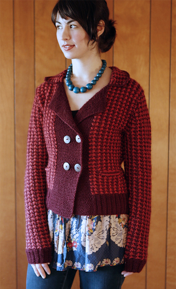Knitting Pattern for 4 Row Repeat Silverman Cardigan