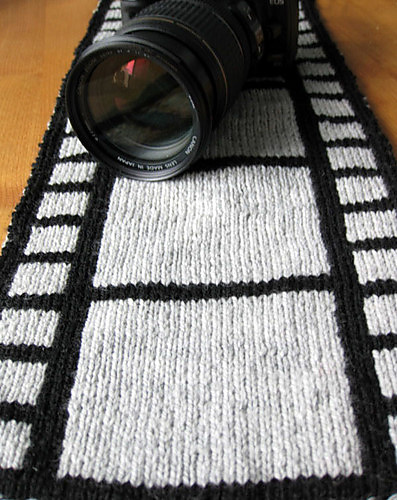 Silver Screen Film Scarf Free Knitting Pattern