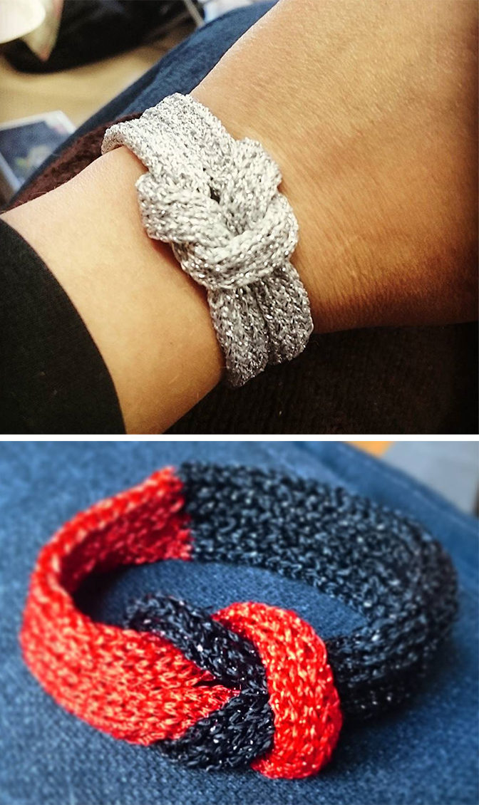 Free Knitting Pattern for Simple Glamour Bracelet