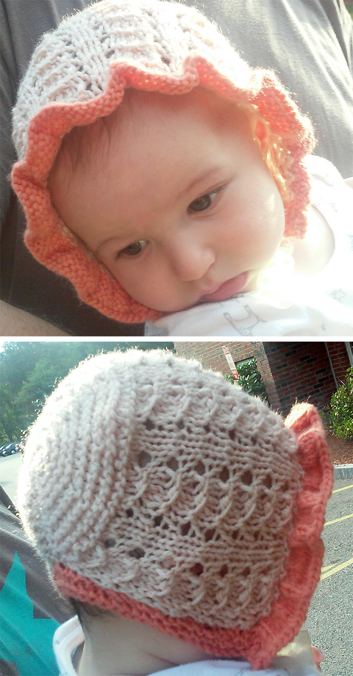 Free Knitting Pattern for Simple Lace Baby Bonnet