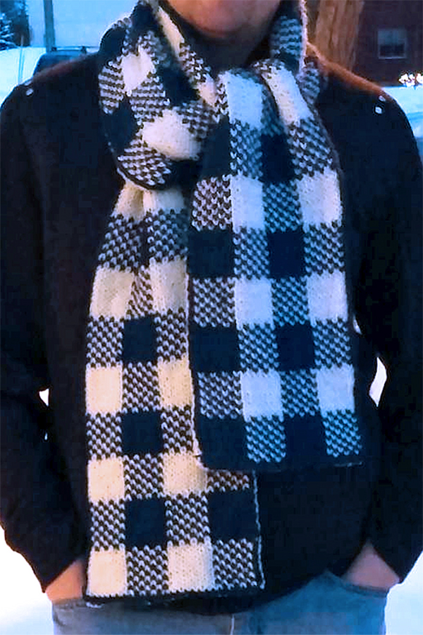 Knitting Pattern for Simple Plaid Double Knit Scarf