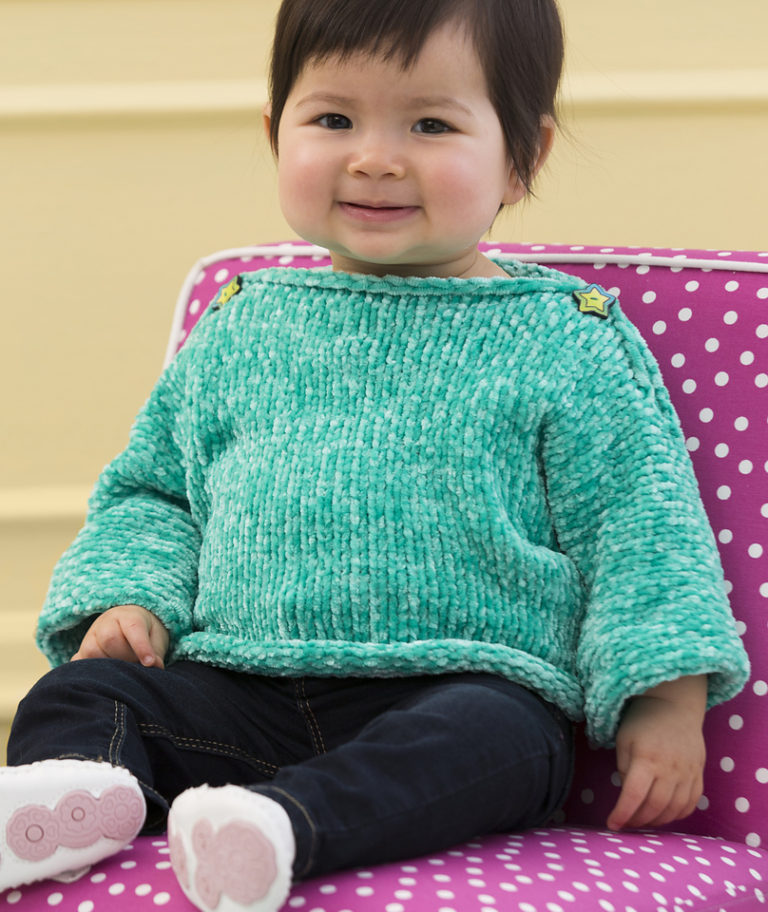 Free Knitting Pattern for Simple and Soft Baby Pullover