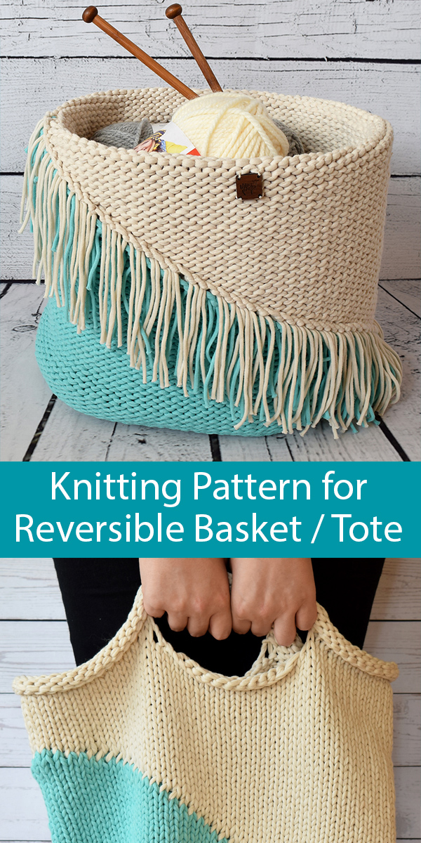 Knitting pattern for Simple Stockinette Basket Bag