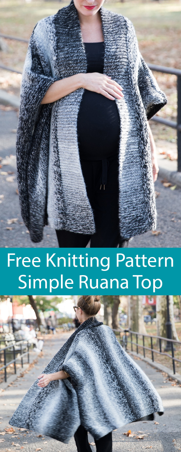 Free Knitting Pattern for Simple Top Ruana