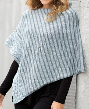 Knitting Pattern for Simply Stripes and Cable Poncho