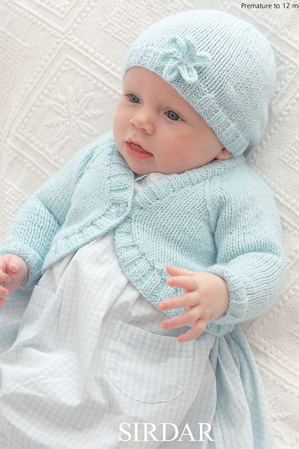 Knitting Pattern for Sirdar Snuggly Baby Bolero and Hat with Flower 1817