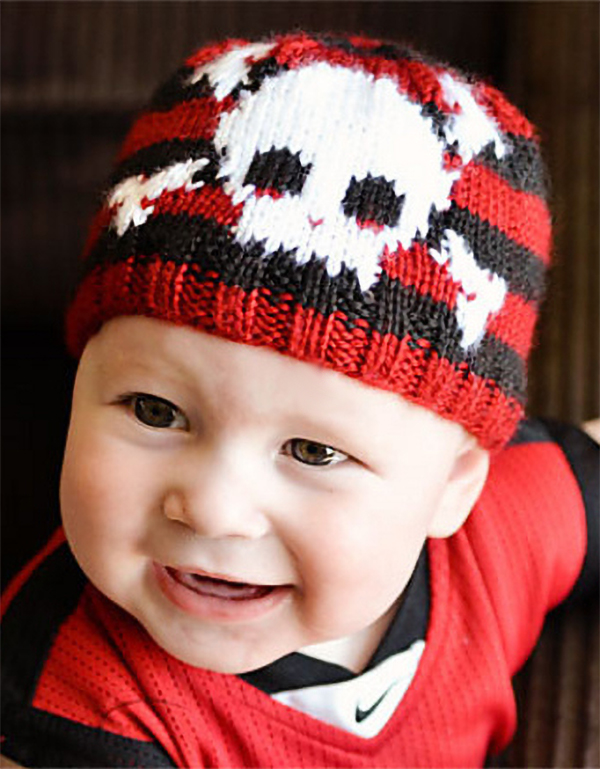 Free Knitting Pattern for Skull and Bones Baby Beanie