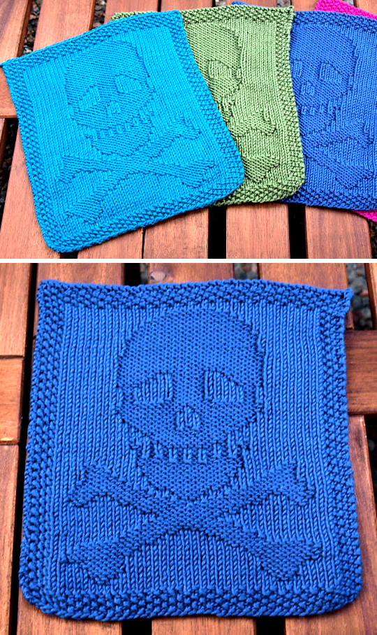 Free Knitting Pattern for Skull and Crossbones Dishcloth