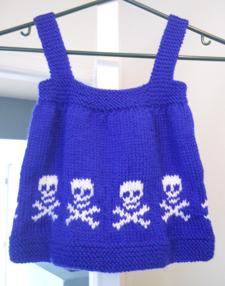 Free Knitting Pattern for Skull Baby Jumper Dress