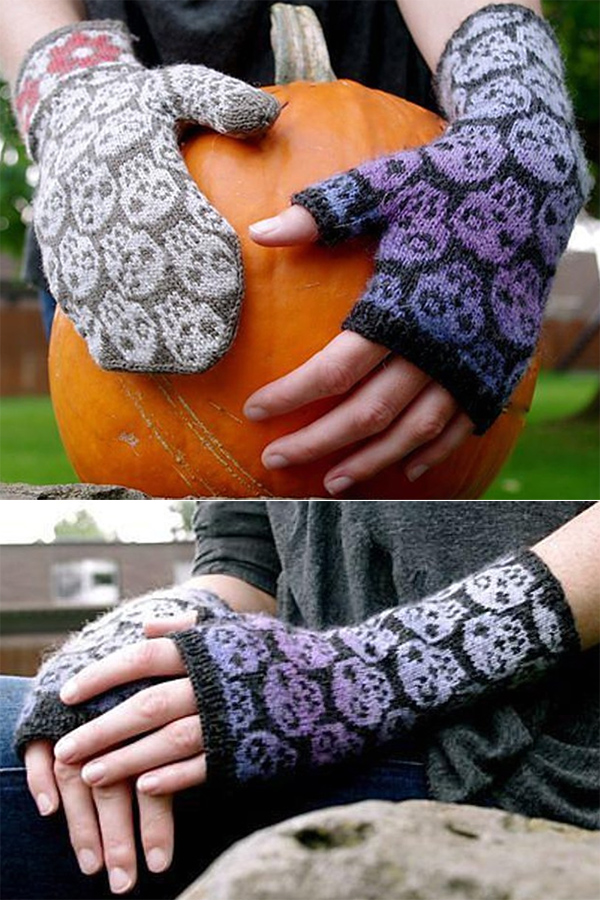 Knitting pattern for Skulls & Flowers Mittens and the Skulls Fingerless Mitts